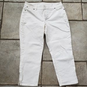 Talbots cropped white denim jeans, size 10P